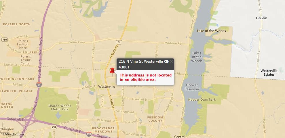 USDA Loan Eligiblity Map - 216 N Vine St, Westerville, OH 43081