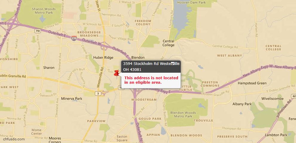 USDA Loan Eligiblity Map - 3594 Stockholm Rd, Westerville, OH 43081