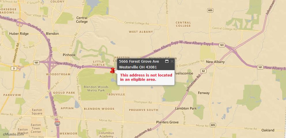 USDA Loan Eligiblity Map - 5666 Forest Grove Ave, Westerville, OH 43081