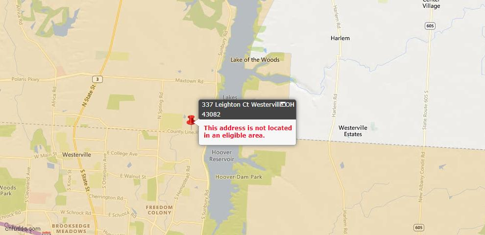 USDA Loan Eligiblity Map - 337 Leighton Ct, Westerville, OH 43082