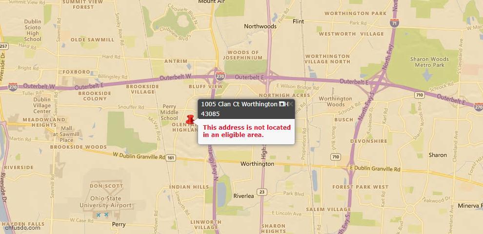 USDA Loan Eligiblity Map - 1005 Clan Ct, Worthington, OH 43085