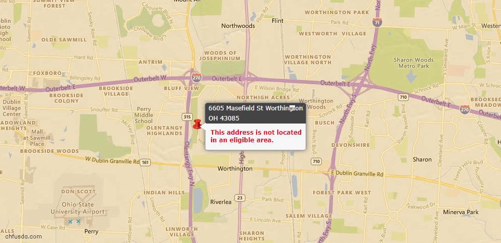 USDA Loan Eligiblity Maps From - Worthington, OH