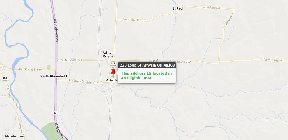 USDA Loan Eligiblity Maps From - Pickaway County, OH