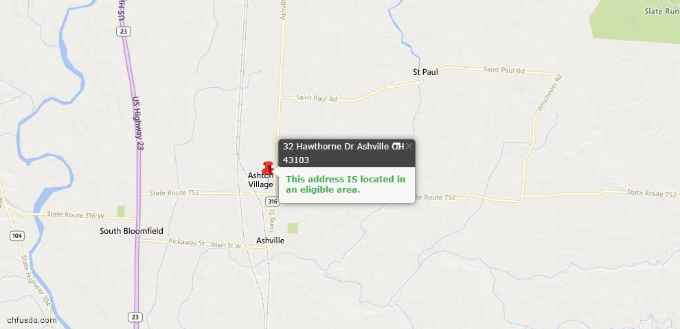 USDA Loan Eligiblity Maps From - Ashville, OH