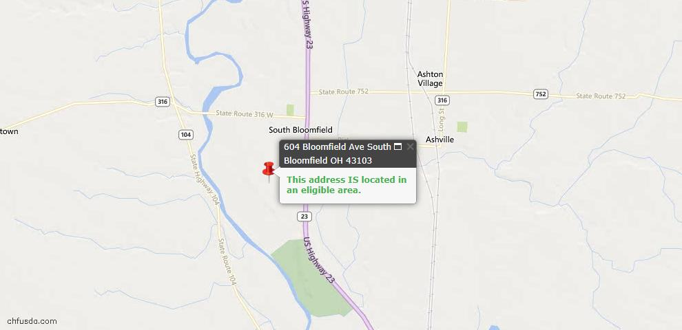 USDA Loan Eligiblity Maps From - South Bloomfield, OH