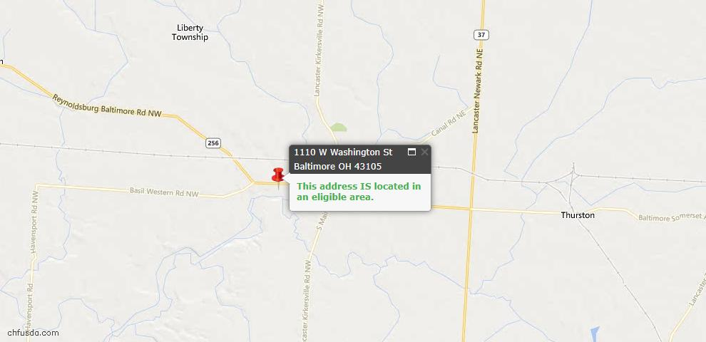 USDA Loan Eligiblity Maps From - 43105, OH