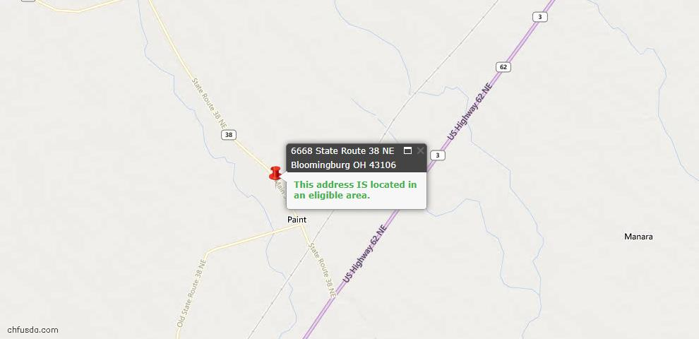 USDA Loan Eligiblity Maps From - Bloomingburg, OH