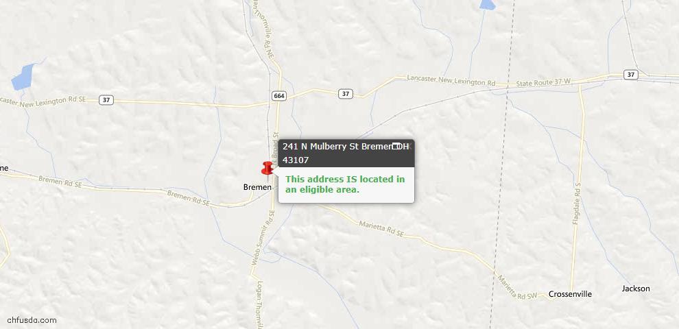 USDA Loan Eligiblity Maps From - Bremen, OH