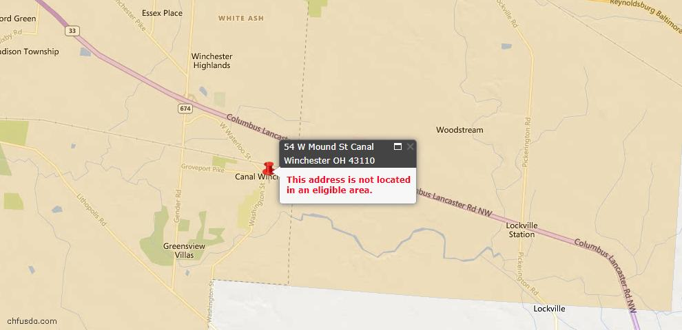 USDA Loan Eligiblity Maps From - Canal Winchester, OH
