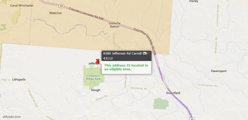 USDA Loan Eligiblity Maps From - Carroll, OH