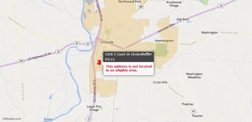 USDA Loan Eligiblity Maps From - Circleville, OH