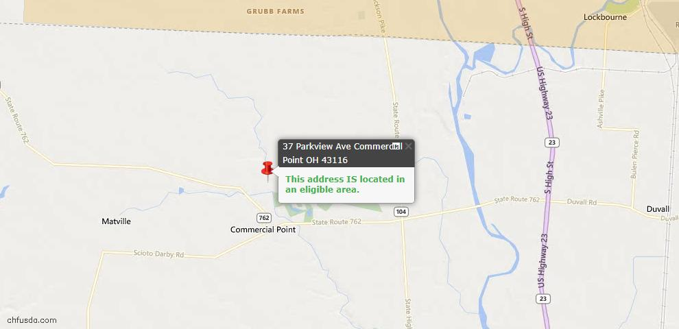 USDA Loan Eligiblity Maps From - Commercial Point, OH