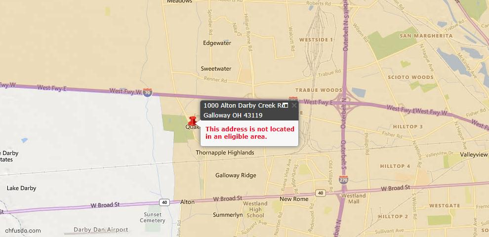 USDA Loan Eligiblity Maps From - Galloway, OH