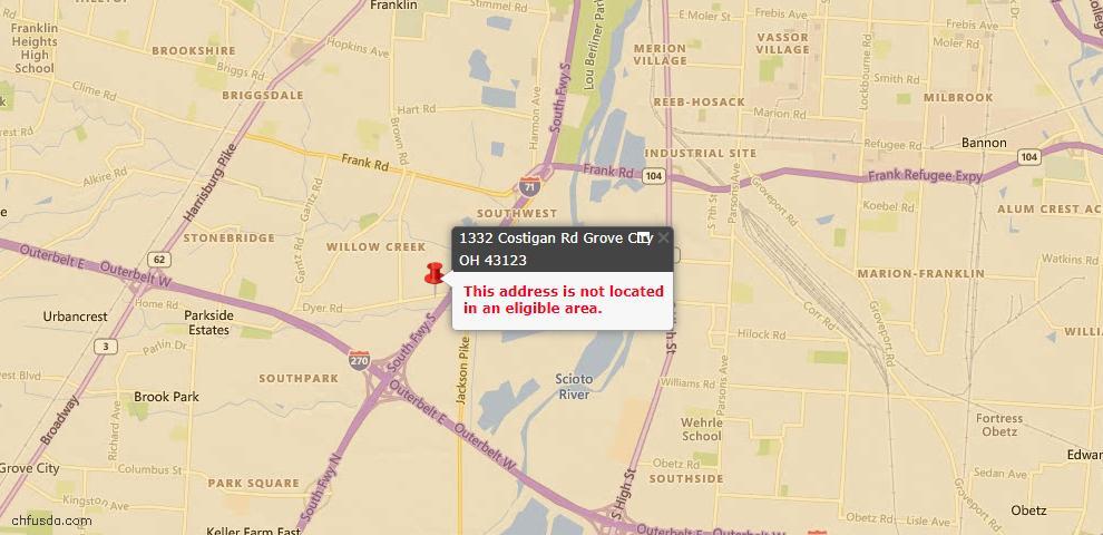 USDA Loan Eligiblity Map - 1332 Costigan Rd, Grove City, OH 43123