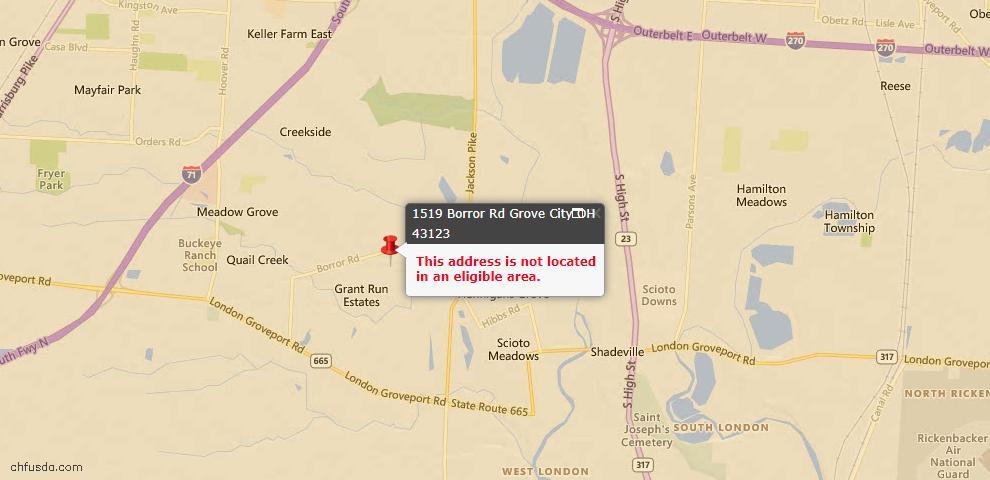 USDA Loan Eligiblity Map - 1519 Borror Rd, Grove City, OH 43123