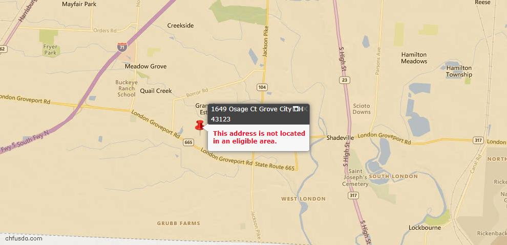 USDA Loan Eligiblity Map - 1649 Osage Ct, Grove City, OH 43123