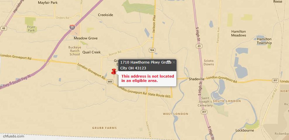USDA Loan Eligiblity Map - 1710 Hawthorne Pkwy, Grove City, OH 43123