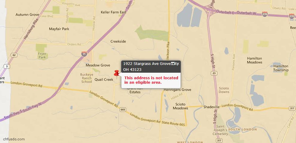 USDA Loan Eligiblity Map - 1922 Stargrass Ave, Grove City, OH 43123