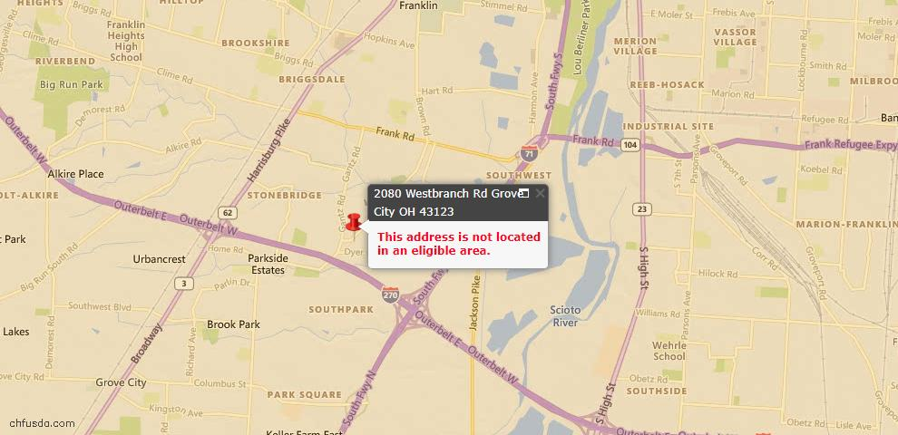 USDA Loan Eligiblity Map - 2080 Westbranch Rd, Grove City, OH 43123