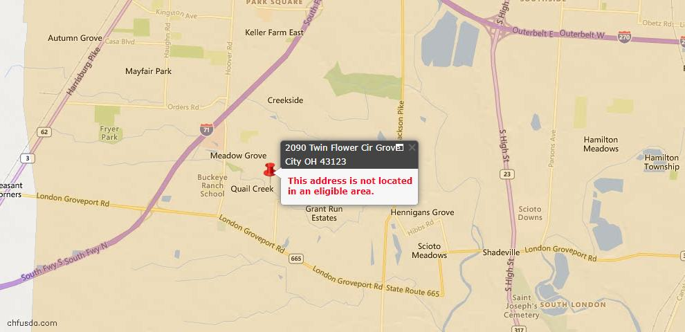 USDA Loan Eligiblity Map - 2090 Twin Flower Cir, Grove City, OH 43123