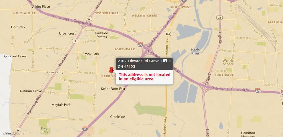 USDA Loan Eligiblity Map - 2102 Edwards Rd, Grove City, OH 43123