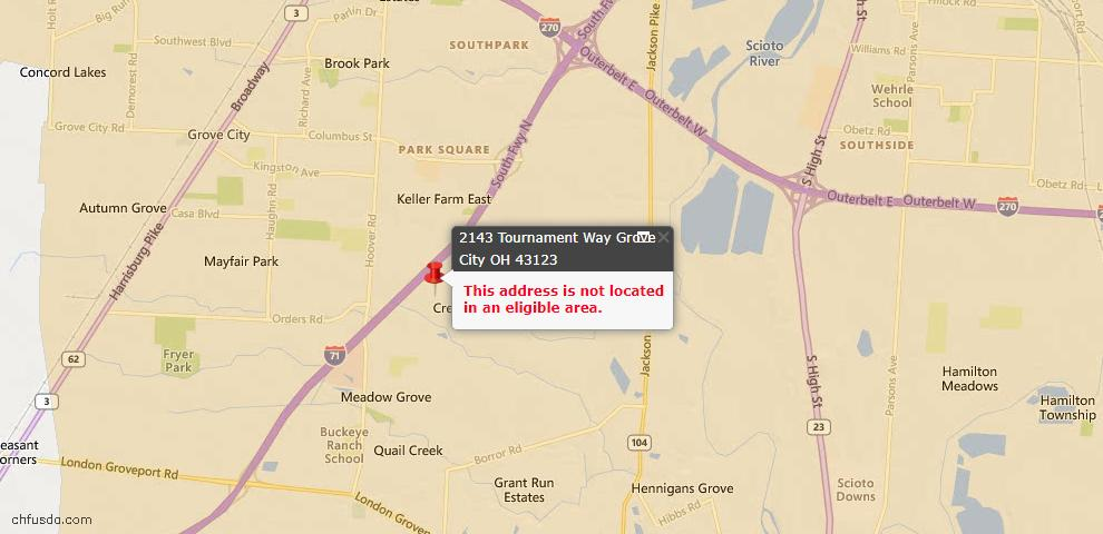 USDA Loan Eligiblity Maps From - Grove City, OH