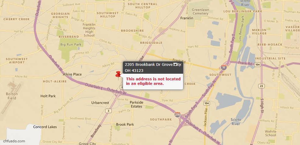 USDA Loan Eligiblity Map - 2205 Brookbank Dr, Grove City, OH 43123
