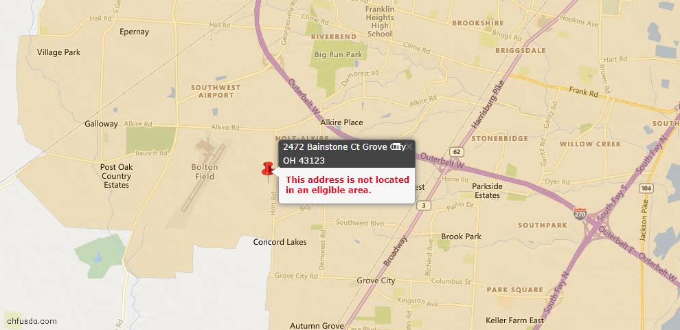 USDA Loan Eligiblity Map - 2472 Bainstone Ct, Grove City, OH 43123