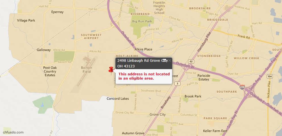 USDA Loan Eligiblity Map - 2498 Linbaugh Rd, Grove City, OH 43123