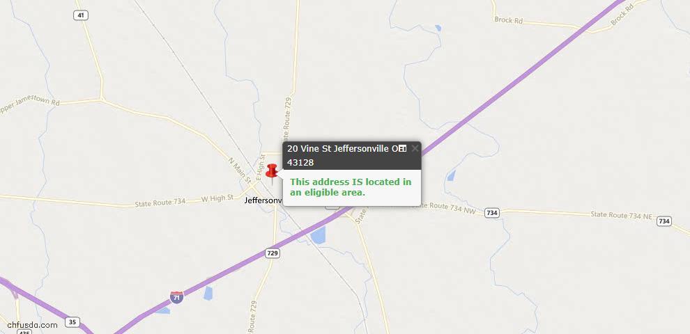 USDA Loan Eligiblity Maps From - Jeffersonville, OH