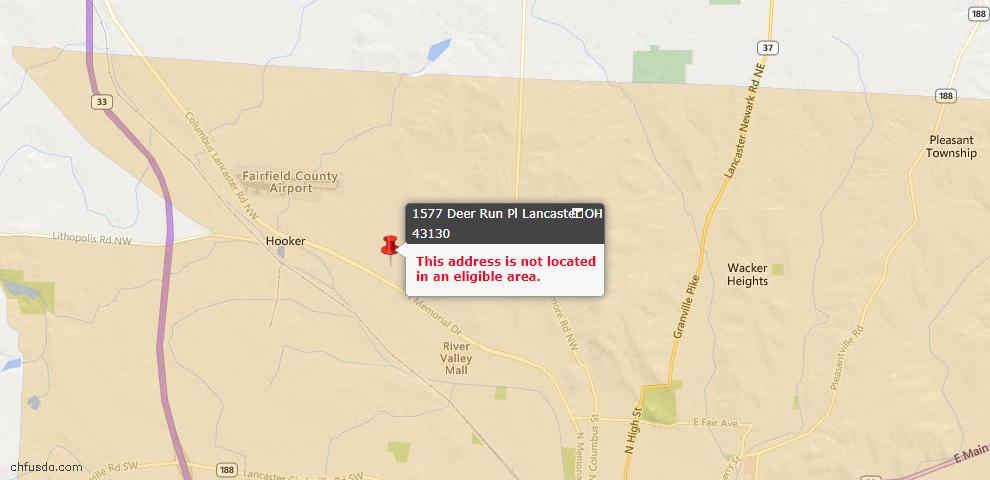 USDA Loan Eligiblity Maps From - Lancaster, OH