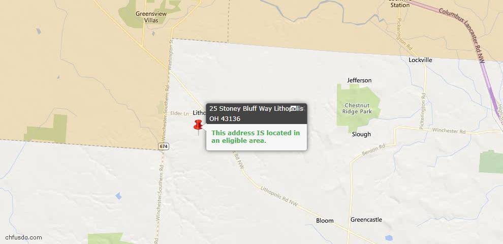 USDA Loan Eligiblity Maps From - Lithopolis, OH