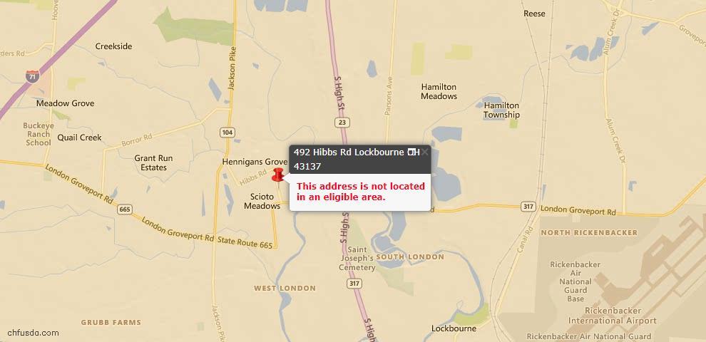 USDA Loan Eligiblity Maps From - Lockbourne, OH