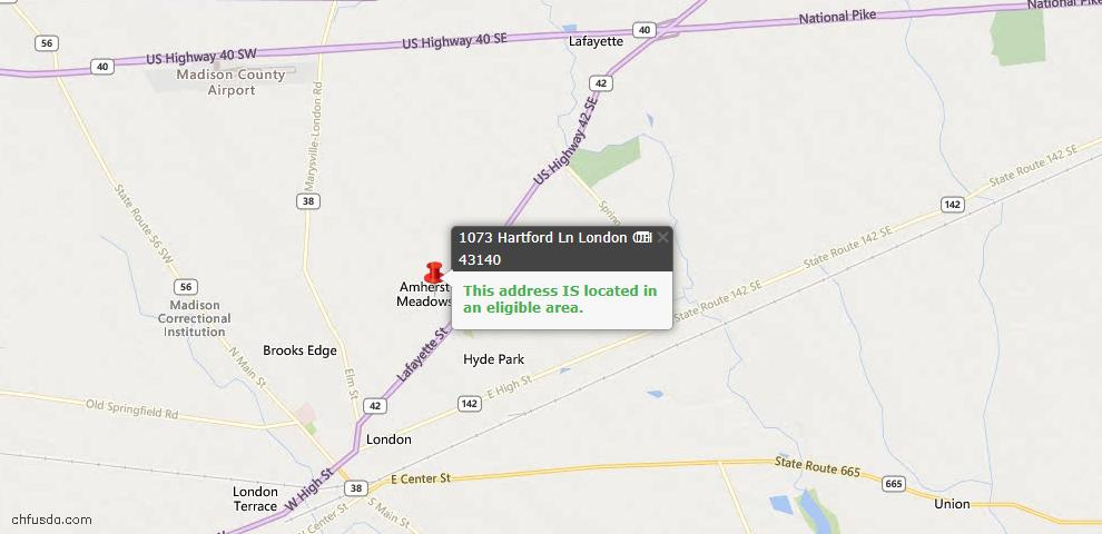 USDA Loan Eligiblity Maps From - London, OH