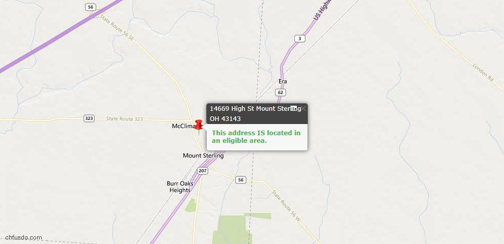 USDA Loan Eligiblity Maps From - Mount Sterling, OH