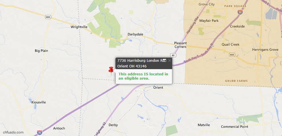 USDA Loan Eligiblity Map - 7736 Harrisburg London Rd, Orient, OH 43146