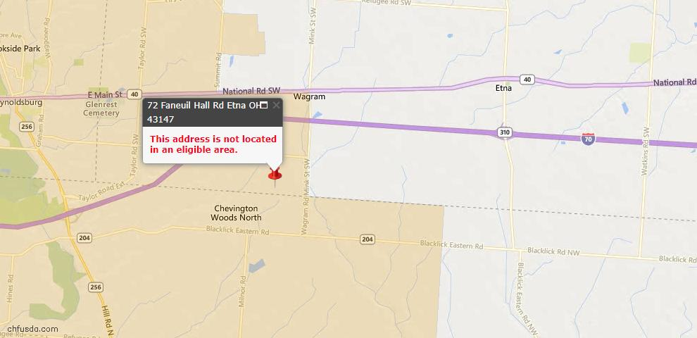 USDA Loan Eligiblity Maps From - Licking County, OH