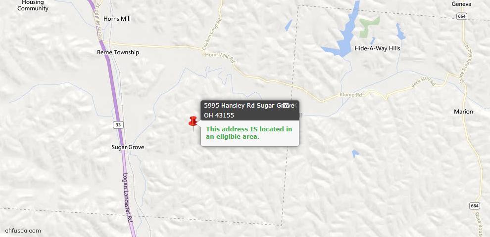 USDA Loan Eligiblity Maps From - Sugar Grove, OH