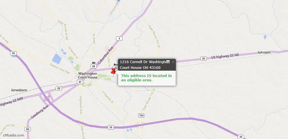 USDA Loan Eligiblity Maps From - Washington Court Hous, OH