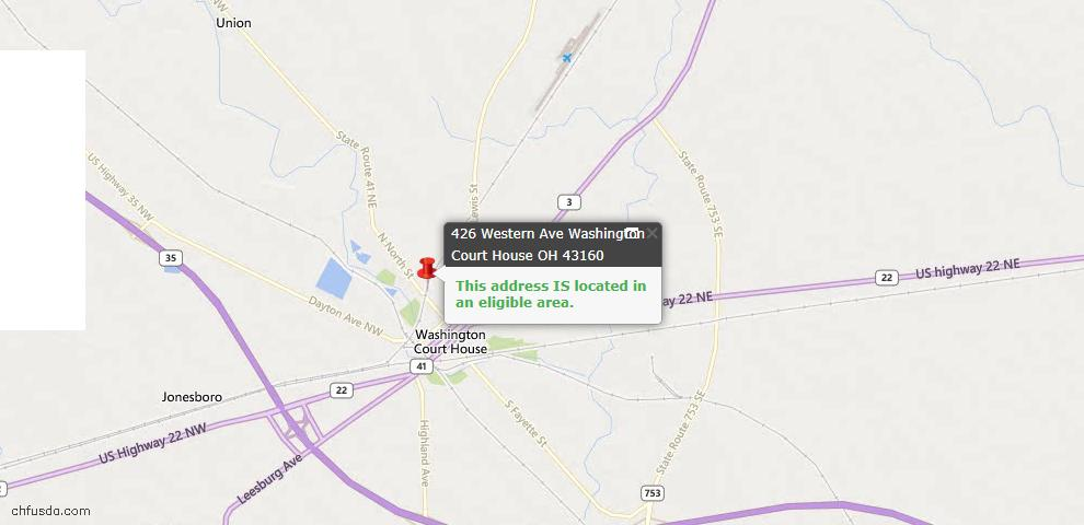 USDA Loan Eligiblity Maps From - Fayette County, OH