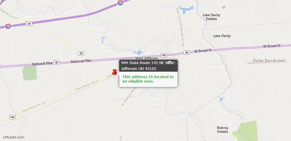 USDA Loan Eligiblity Maps From - 43162, OH