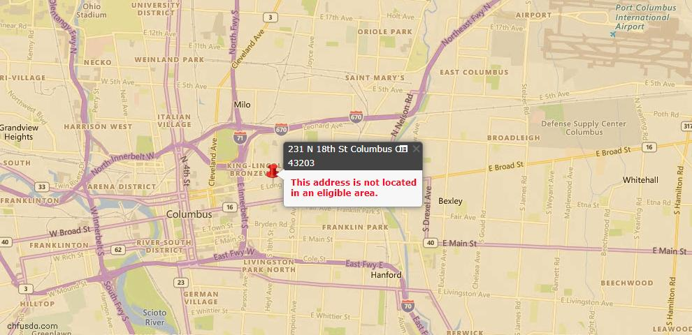 USDA Loan Eligiblity Maps From - 43203, OH