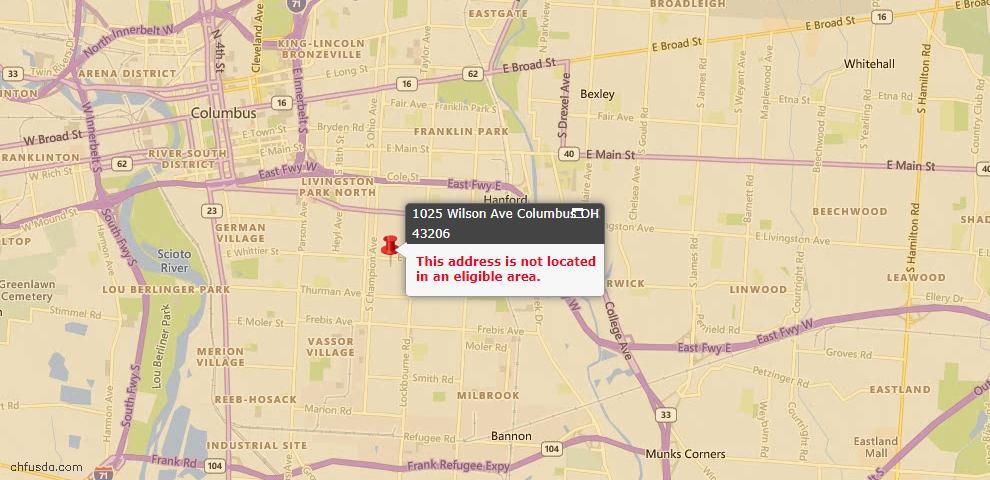 USDA Loan Eligiblity Map - 1025 Wilson Ave, Columbus, OH 43206