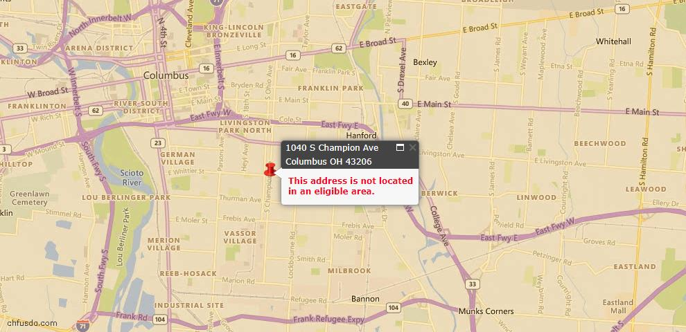 USDA Loan Eligiblity Map - 1040 S Champion Ave, Columbus, OH 43206