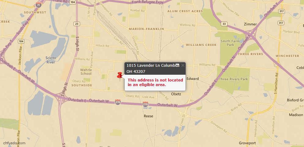 USDA Loan Eligiblity Map - 1015 Lavender Ln, Columbus, OH 43207