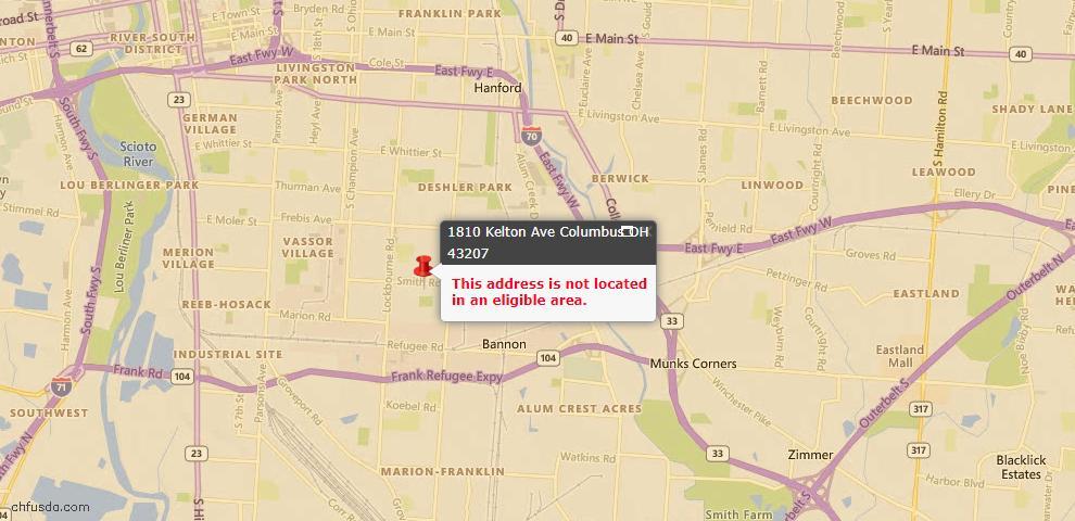 USDA Loan Eligiblity Map - 1810 Kelton Ave, Columbus, OH 43207