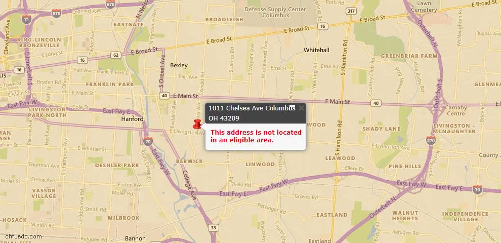 USDA Loan Eligiblity Map - 1011 Chelsea Ave, Columbus, OH 43209