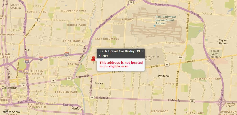 USDA Loan Eligiblity Maps From - Bexley, OH