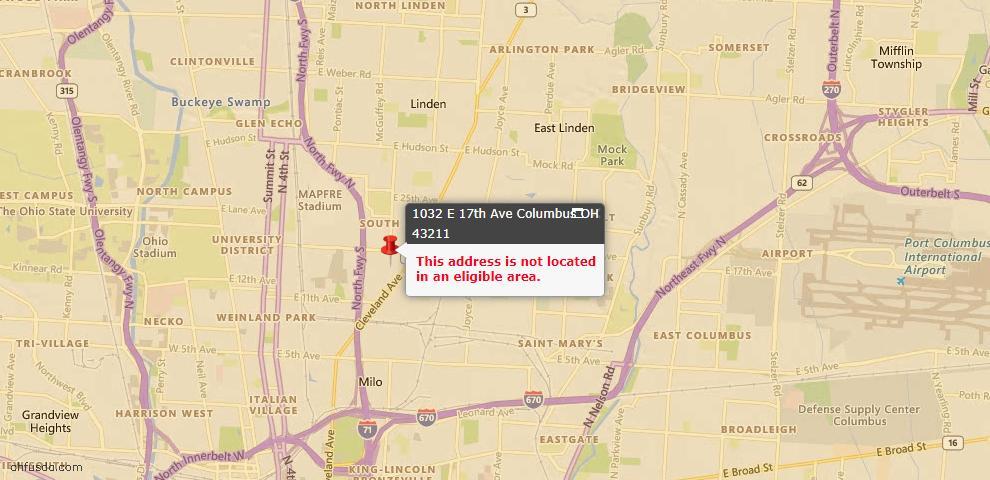 USDA Loan Eligiblity Map - 1032 E 17th Ave, Columbus, OH 43211