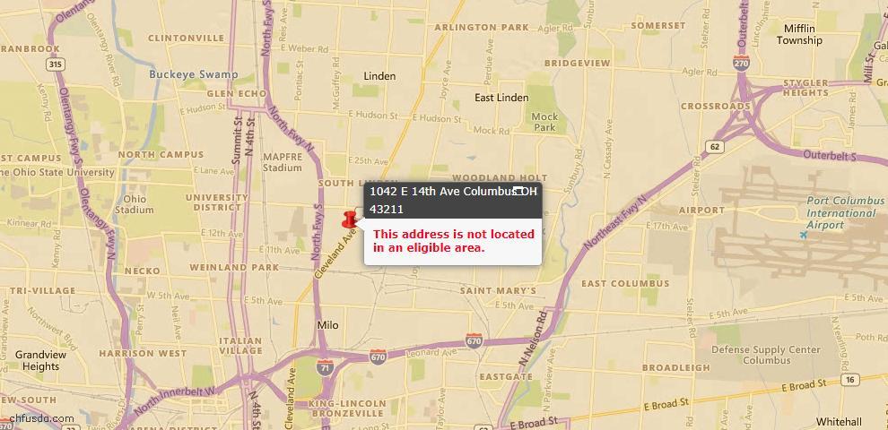 USDA Loan Eligiblity Map - 1042 E 14th Ave, Columbus, OH 43211